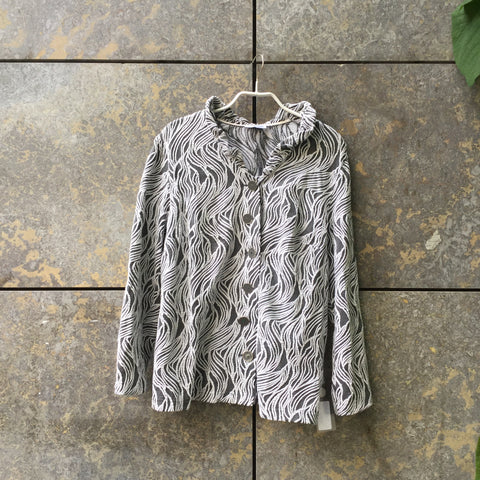 Grey Taupe-White Cotton Mix Vintage Light Jacket  Size XL/XXL