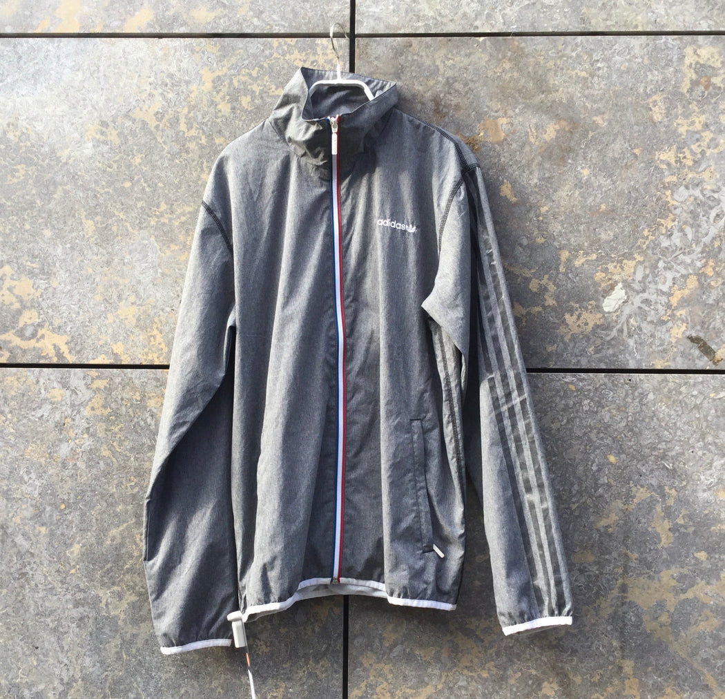 Grey Taupe-Tricolor Nylon Adidas Collaboration Zip Jacket  Size L/XL