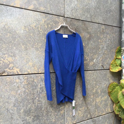 Royal Blue Rayon Mix Vicolo Sweater Minimalist Detail Size M/L