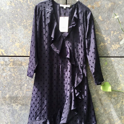 Midnight Purple Polyester / Rayon Gestuz Cocktail Dress Ruffled Asymetric Size S/M