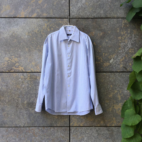 White-Light Blue Cotton Hugo Boss Shirt