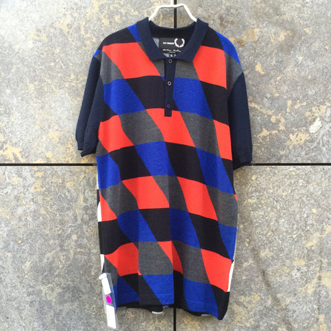 Midnight Blue-Red Wool Raf Simons X Fred Perry Polo Shirt Sleeve Detail Size XL/XXL