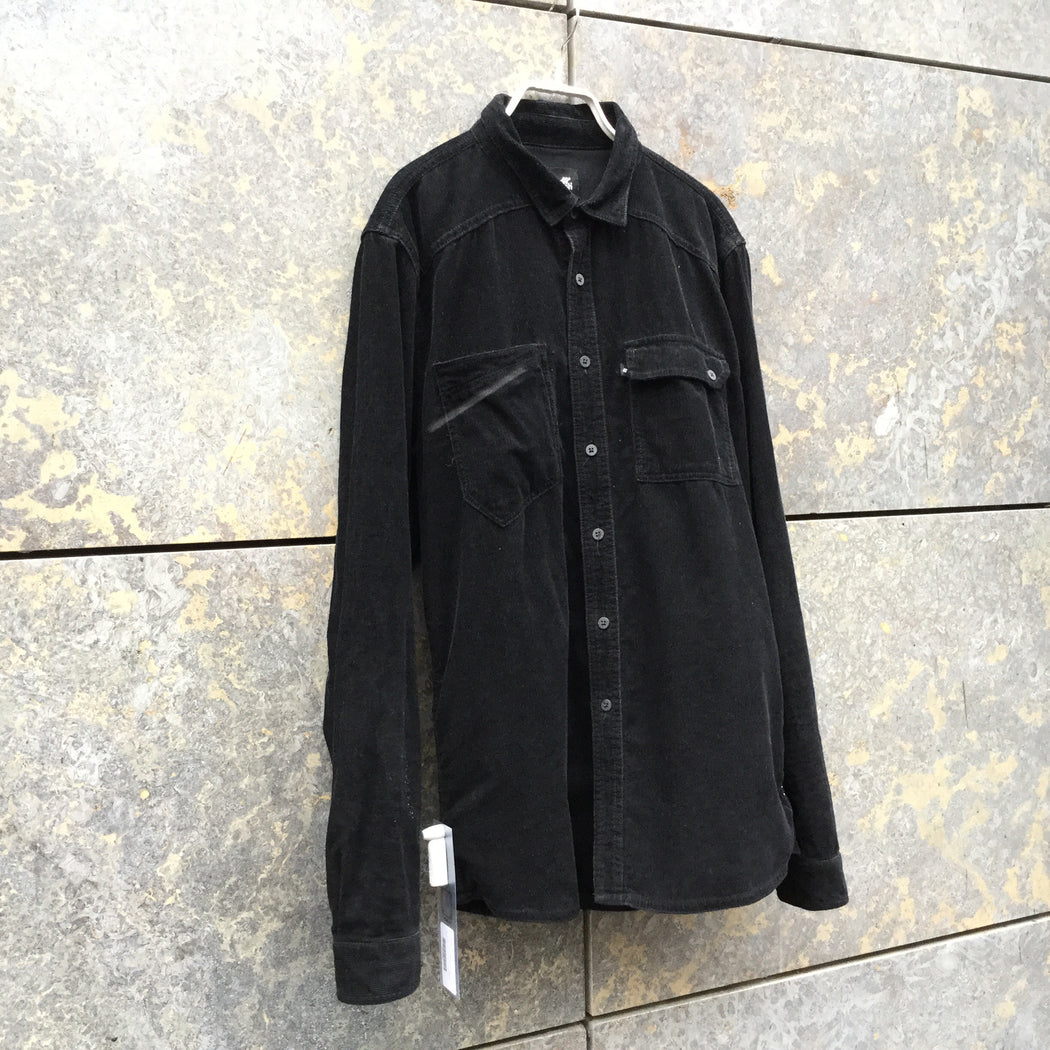 Black Corduroy Contemporary Main Shirt  Size M
