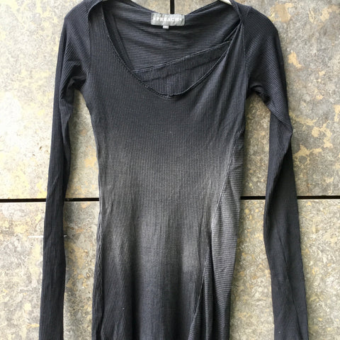 Dark Grey Cotton Mix Preach Jersey Dress Conceptual Detail Wide Neck Size XS/S