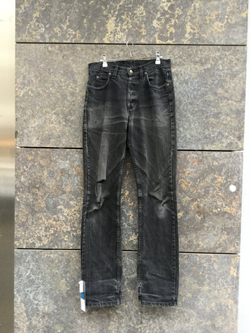 Black Denim Lee Straight Fit Jeans Destroyed Size 30
