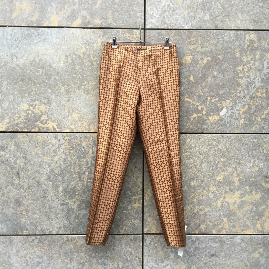 Black-Copper Polyester Mix Vintage Trousers  Size