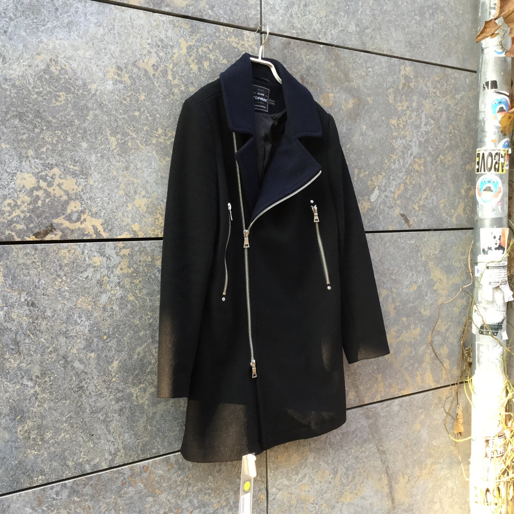 Black-Midnight Blue Wool / Polyester Mix Topshop Coat Zippered Size S/M