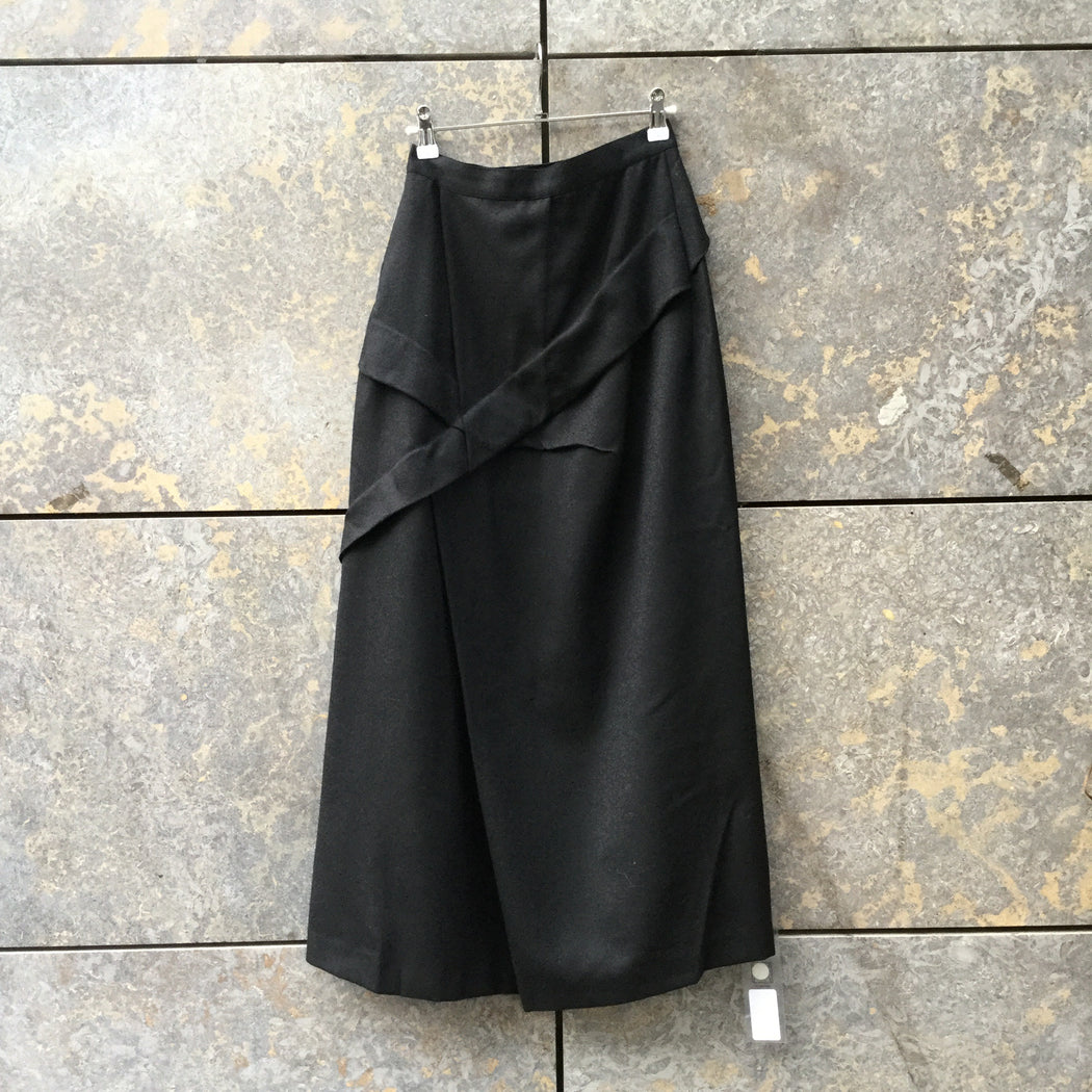 Black Wool Independent Maxi Skirt Conceptual Detail Size 26/27