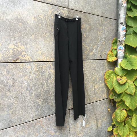Black Wool Independent Trousers Conceptual Detail Asymetric Size 28/29