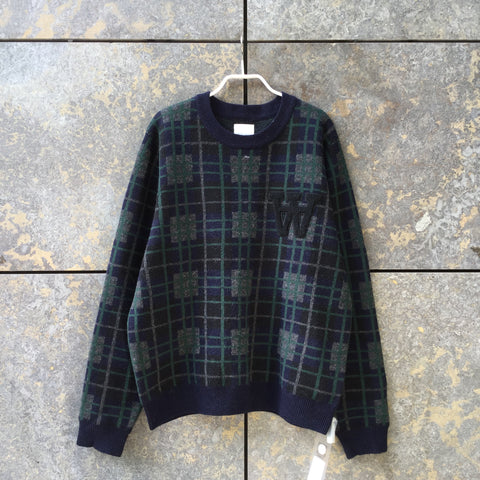 Navy-Dark Green Wool Wood Wood Sweater  Size L/XL