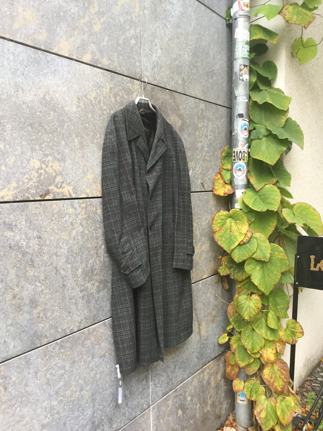 Grey-tones Wool Mix Vintage Trench Coat  Size L/XL