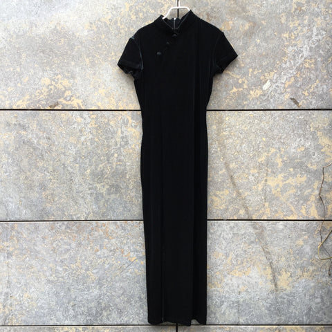 Black Velour Vintage Maxi Dress Mandarin Collar Size M/L