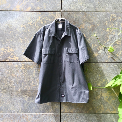 Dark Grey Cotton / Poly Mix Dickies Shirt short sleeve Boxy Oversized Size L/XL