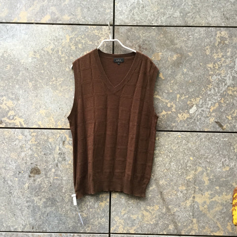 Brown Silk Mix A.p.c. ( Mens ) Sweater Vest V-neck Size S/M