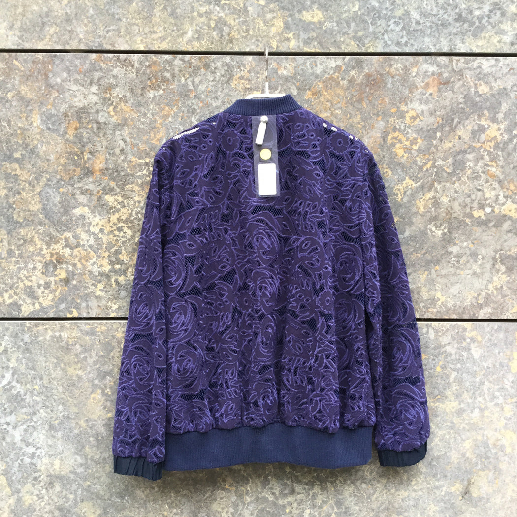 Midnight Purple-Deep Purple Polyester Modern Vintage Bomber Sheer Size S/M