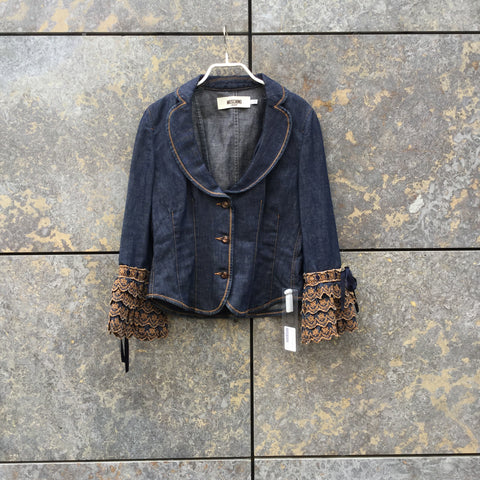 Denim Blue Denim Moschino Jeans Jacket Ruffled Size M/L
