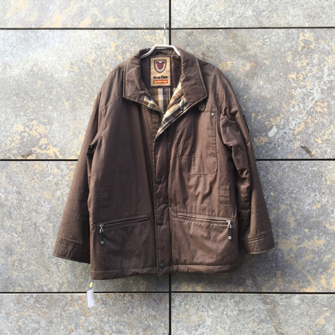 Brown Cotton Contemporary Main Coat Multi Pocket Loose-fit Size L/XL