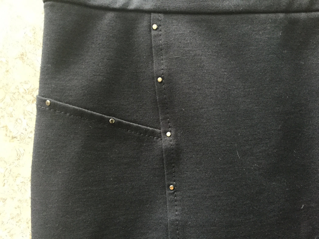 Midnight Blue-Silver Wool / Polyamide Stefanel Mini Skirt Stitching Detail Size 26/27