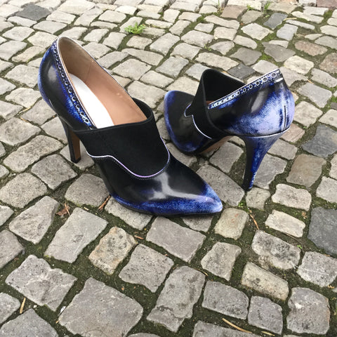 Blue Tone Mix Leather/Synthetic Mix Maison Martin Margiela Heels  Size