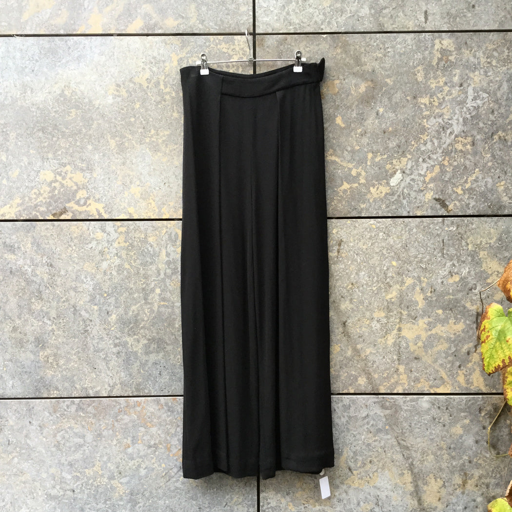Black Rayon Mix Other Stories Trousers Wide Leg Size 29/30