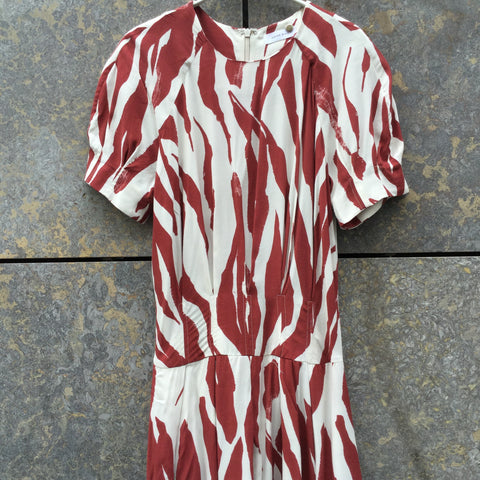 White-Ox Blood Rayon Anine Bing Dress Pleated Size XS/S