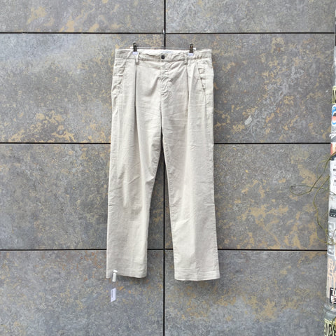 Grey-Tones Cotton Mix Closed Trousers Pleated Size 34