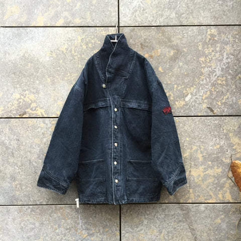 Navy Denim Kenzo Jeans Jacket Sleeve Detail Oversized Size XL/XXL