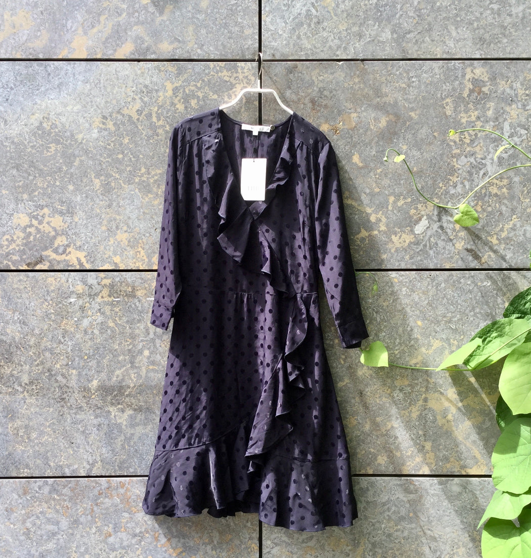 Midnight Purple Polyester / Rayon Gestuz Cocktail Dress Ruffled Asymetric