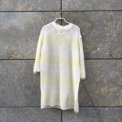 White-Straw Mohair Mix Mm6 Maison Margiela Light Sweater Elongated 3/4 Sleeve Size M/L