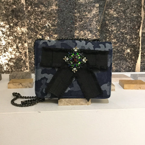 Dark Blue-Colorful Denim Vintage Shoulder Bag Chain Detail