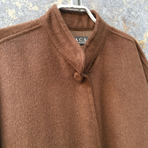 Brown Alpaca Contemporary Designer Cape  Size Os