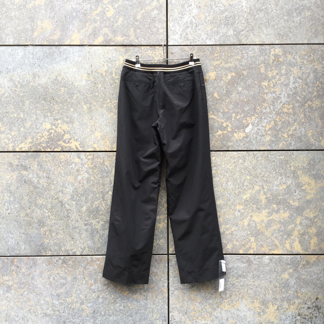 Black Nylon / Cotton Contemporary Main Trousers Wide Leg Size 30/31