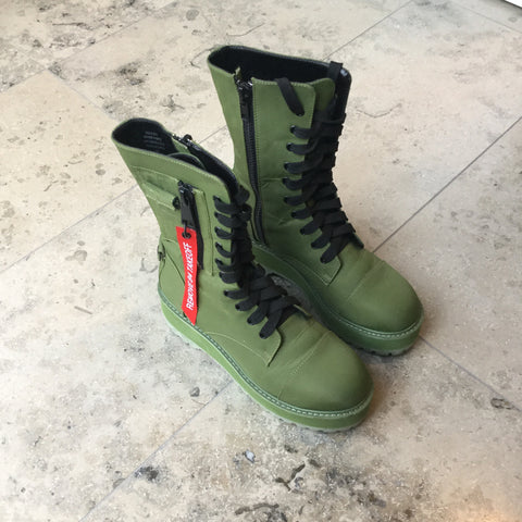 Army Synthetic Poster Grl Combat Boots Platform Size 39