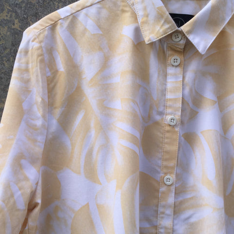 White-Mustard Cotton Contemporary Main Shirt Oversized Size S/M