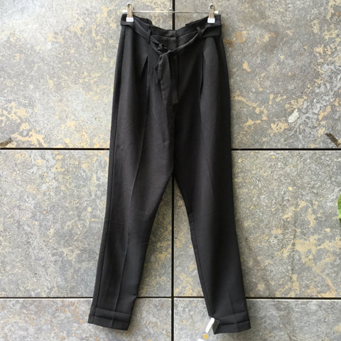 Black Polyester Modern Contemporary Main High Waist Pants Pleated Size 29/30