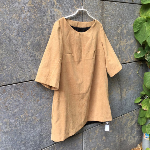 Khaki-Caramel Polyester Modern Independent Dress  Size M/L