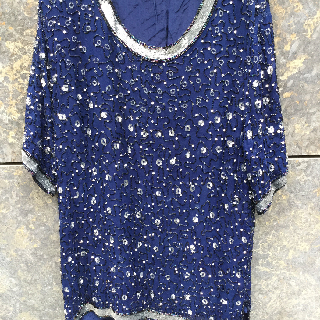 Midnight Blue-Silver Polyester Mix Vintage Top short sleeve Sequened Size L/XL