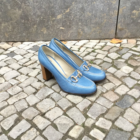 Blue Leather Contemporary Pumps Heels Attachment Size 11.5