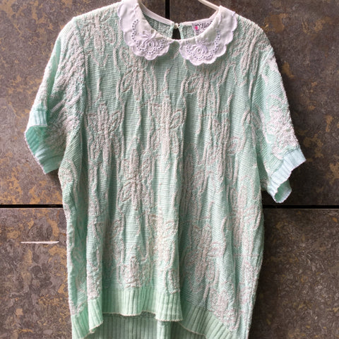 Light Sage-White Cotton / Acrylic Mix Vintage Sweater short sleeve Collar Detail