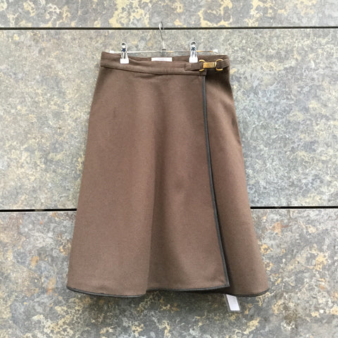 Brown Wool Armani Jeans Midi Skirt  Size 26/27