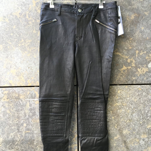 Black Leather Blk Dnm Slim Fit Jeans Ribbed Knee
