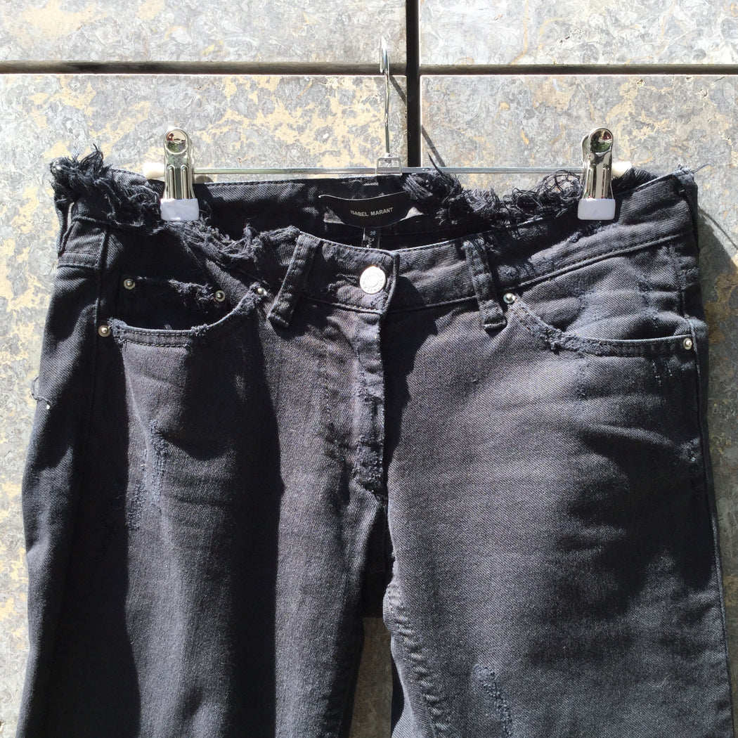 Black Denim Isabel Marant Slim Fit Jeans Cut Up Size 28/29