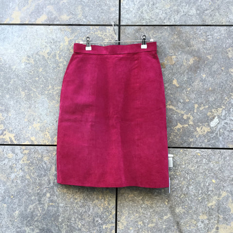 Wine Suede Vintage Pencil Skirt  Size 26/27