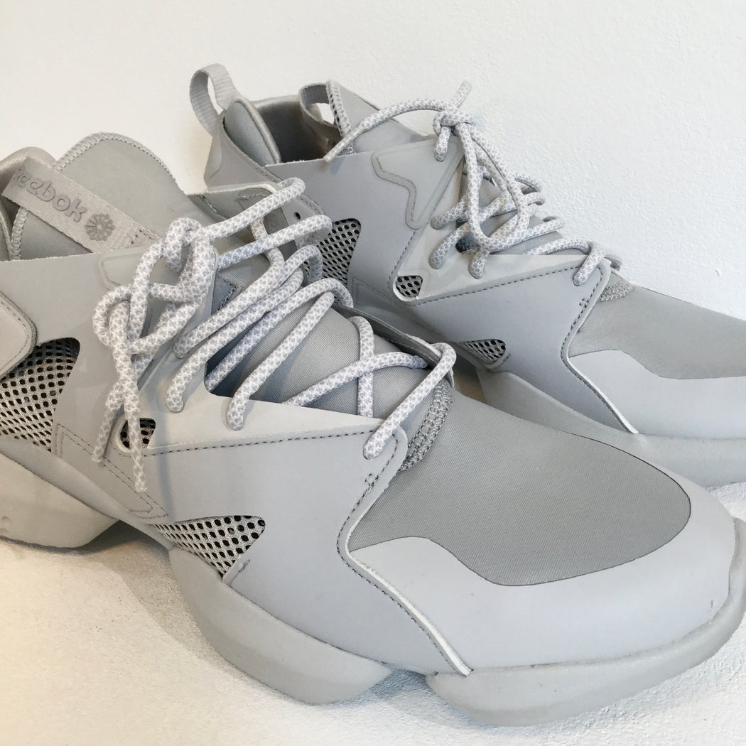 Light Gray-Morning Gray Leather/synthetic Mix Reebok Sneakers Geometric Detail Size 45