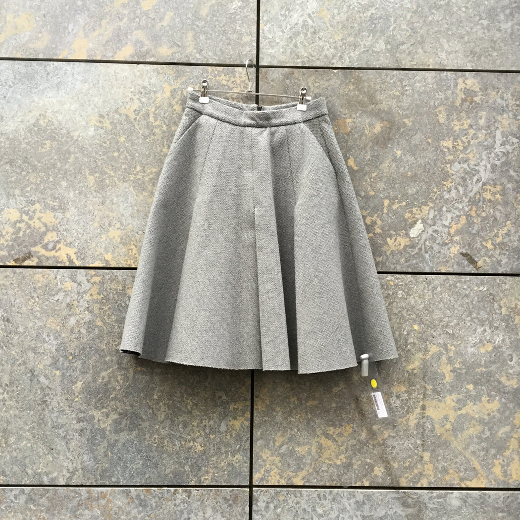 Grey Fleece J.w. Anderson A-line Skirt Pleated Size 25/26