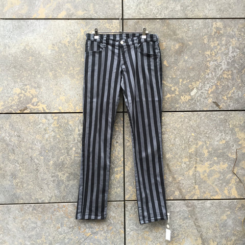 Dark Grey-Light Purple Cotton Vintage Trousers  Size 28/29