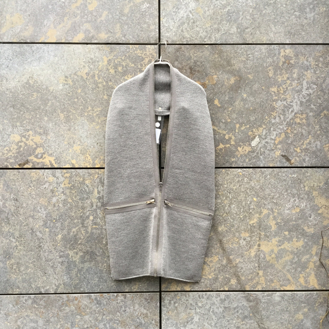 Grey Taupe Wool Marc By Marc Jacobs Scarf Zippered Conceptual Detail Size Os