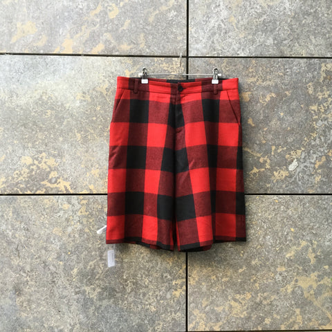 Red-Black Wool Mix Independent Designer Shorts  Size 28/29