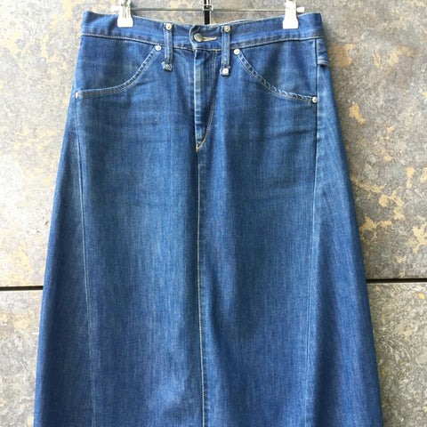Midnight Blue Denim Levi's Maxi Skirt Stitching Detail Size 30/31
