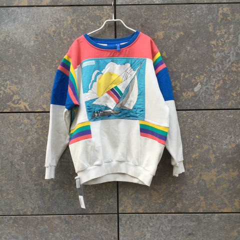 Colorful Cotton / Poly Mix Adidas Sweater  Size L